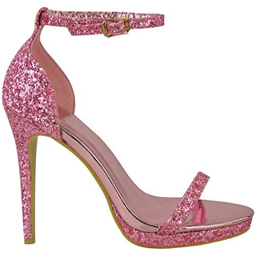 Mode Soif Plate-forme Pour Femmes Talons Hauts Cheville Strappy Paillettes Parti Sandales Chaussures Taille Candy Rose Paillettes