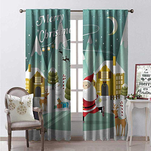 Hengshu Merry Christmas Blackout Window Curtain Snowy Sweet Xmas Scene Doodle Ice Skating Santa Reindeer Gift Boxes Print Customized Curtains W108 x L84 Multicolor