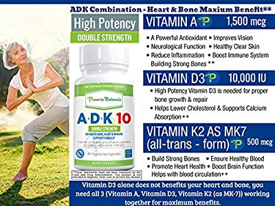 PbyN - Vitamins A-D-K 10 - Double Strength, Dr. Formulated Vitamin ADK 10000 iu. High Potency Vitamins A, D3 (10,000 iu), K2 (as MK-7), Supplement for Bone, Heart, Immune Support, 90 Pills 3 Months