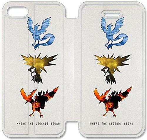 Flip étui en cuir PU Stand pour Coque iPhone 5 5S, 5 cas de téléphone cellulaire 5S bricolage Pokemon 00 Coque iPhone Z5X0OM silicone et étuis en cuir