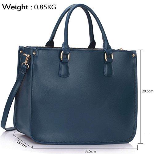 Xardi London 38,1cm nuovo grande da donna in pelle sintetica di ufficio a tracolla, borsa da donna Navy