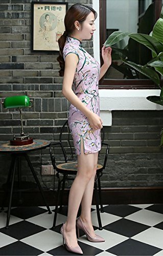 Qipao De Robe Pour En 3 Court Acvip Soirée Cheongsam Traditionnel Femme Couleur Asiatique Floral Dresse Coton Chinoise WTFgYFS