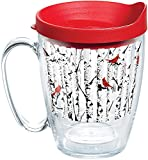 cardinals freezer mug - Tervis 1270139 Mug with Lid, Enjoy a calm winter day with cardinals, aspen trees and your favorite beverage at just the right temperature. , Red