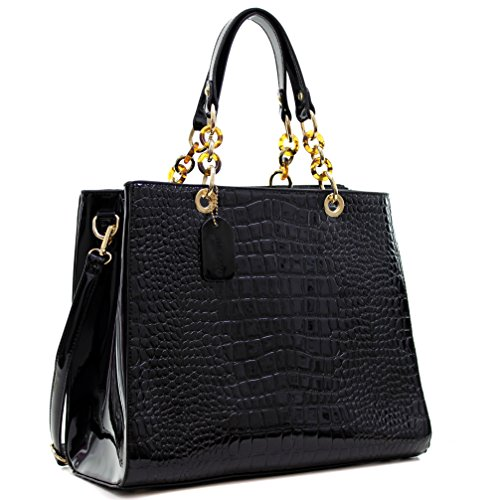 Croco Embossed Leather (Dasein Patent Faux Leather Croco Embossed Chain Strap Satchel)