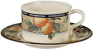 Mikasa Garden Harvest Flat Cup & Saucer Set, Fine China Dinnerware