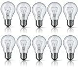 10 x 40W Edison Screw E27 Clear Standard Classic GLS Light Bulbs, Edison Screw Cap, Incandescent Dimmable Lamps, 410 Lumen, Mains 240V, A50 Globe