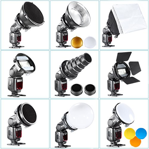 - Neewer Pro (Pro Version of Neewer Product) Speedlite Flash Accessories Kit with Barndoor, Conical Snoot, Mini Reflector, Sphere Diffuser, Beaty Disc, 8