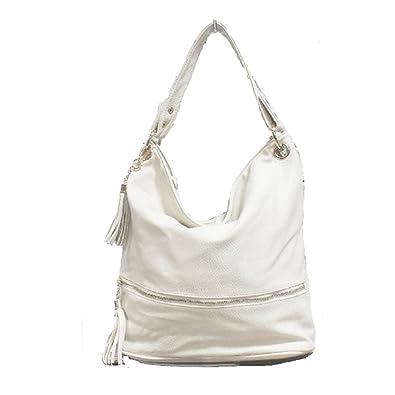 9fddd73015 LS Square Slouch Bags Trendy Celebrity Shouler Hobo Bag Womens Designer  Cross Body Handbag with Long Strap Tassel Charm Soft Italian Leather  (White)  ...