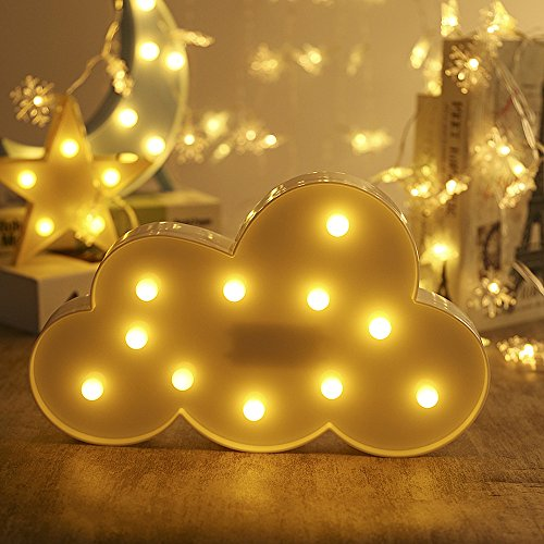 3D Romantic Battery Operated Night Light Decoration LED Table Lamp Light Cute Letter Sign Light Lamps On Wall with Dimiable,Nursery Night Lamp for Party Baby Children Bedroom Decor Gift(White Cloud) Review