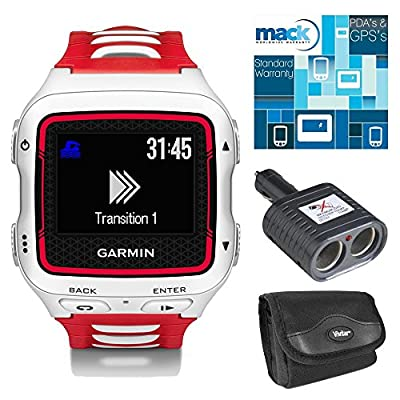 Garmin Forerunner 920XT Multisport GPS Watch - White/Red Bundle - Includes GPS Watch, Car Charger for GPS, Carrying Case and Three Year Extended Warranty Certificate for GPS & PDA