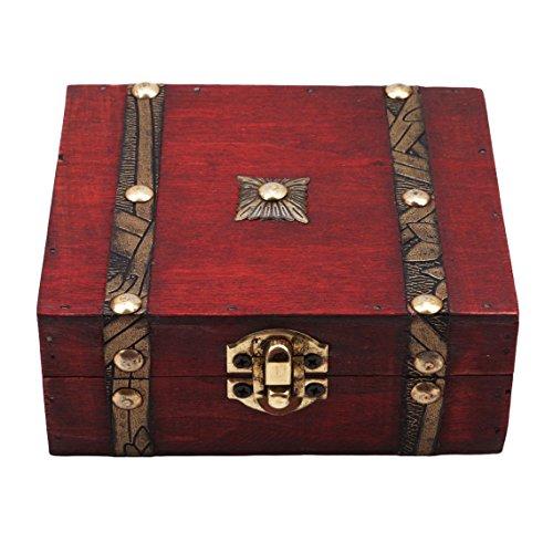 Rurah Retro Wooden Box Double Leather Belt Pattern Vintage Wooden Treasure Case Decorative Trinket Jewelry Storage Box Old Memory