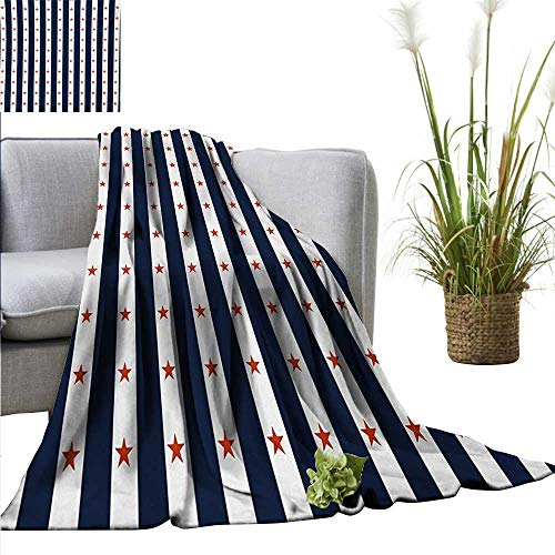 AndyTours Wearable Blanket,USA,Happy Fourth of July Famous Day of States with Vertical White Stripes and Stars,Indigo Red White,300GSM, Super Soft and Warm, Durable 50