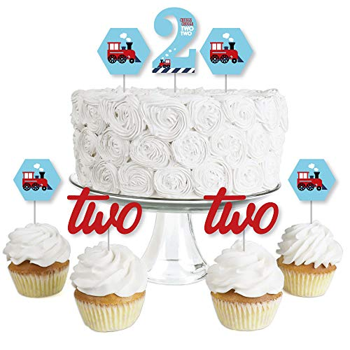 2nd Birthday Railroad Party Crossing - Dessert Cupcake Toppers - Steam Train Second Birthday Party Clear Treat Picks - Set of 24 (Toppers Railroad Cupcake)