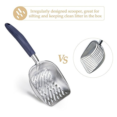 CO-Z Cat Litter Scoop Solid Aluminum Alloy Sifter Deep Shovel with Flexible Long Handle (Blue)