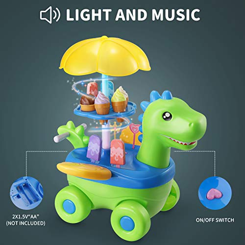 Baby Home Ice Cream Toy Cart for Kids, 52 Pcs DIY Assembly Dinosaur Ice Cream Trolley STEM Take Apart Toys Food Truck Pretend Playset with Realistic Lights Sounds for Toddlers
