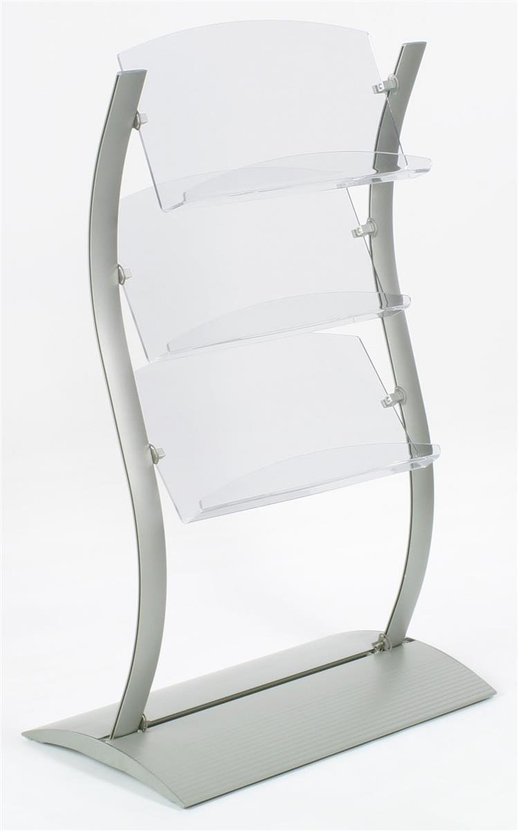 Displays2go, Freestanding Brochure Holders, Aluminum, Acrylic – Silver (WVLH4524)