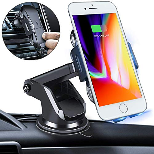 Harpenns Automatic Clamping Wireless Car Charger Mount, 10W 7.5W 5W Qi Fast Charging Car Phone Holder,Windshield Dashboard Air Vent Compatible with iPhone Xs Max X XR 8 8 Plus,Samsung Note 9 S9 S9