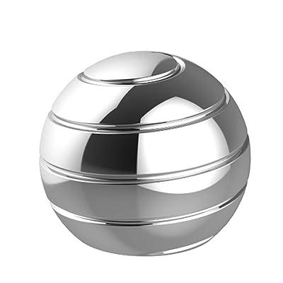 TRUEGOOD Kinetic Desk Toys,Full Body Optical Illusion Fidget Spinner Ball,Gifts for Men,Women,Kidsical Illusion Fidget Spinner Ball,Gifts for Men,Women,Kids, Gift for Christmas (Silver): Toys & Games