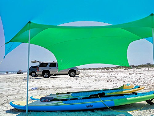 Otentik Beach SunShade - With Sandbag Anchors - The Original Sunshade since 2011 (Kermit Green, Medium 7 x 7 ft and 5.5 ft Tall/up to 5 people)