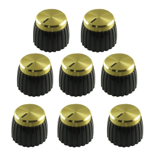 Marshall Guitar Amp Knobs, Gold Cap, Push On (Pkg 8) P-KM200-A