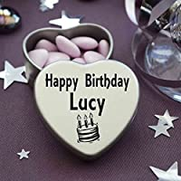 Happy Birthday Lucy Mini Heart Tin Gift Present For Lucy WIth Chocolates