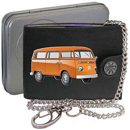 Orange T2 VW Camper Klassek Herren Geldbörse Geldbeutel Portemonnaie mit Kette Volkswagon Wohnmobil Zubehör