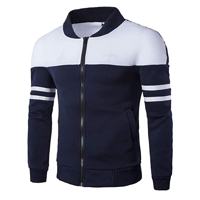 YanHoo Suéter de los Hombres Chaqueta de Cremallera de Color Diagonal Casual para Hombre al Aire Libre Abrigo de Manga Larga de los Hombres de Moda otoño ...