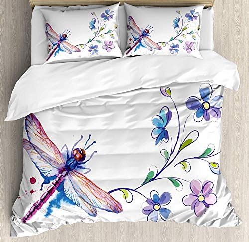 CHASOEA Dragonfly Twin Bedding Comforter Sets All-Season 4pc Duvet Cover Set Quilt Bedspread for Adult/Kids/Teens, Watercolor Bug Butterfly Like Moth with Branch Ivy Flowers Lilies Art