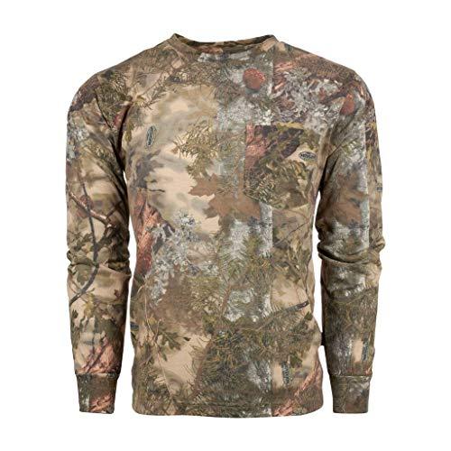 King Womens Light T-shirt - King's Camo Cotton Long Sleeve Hunting Tee, Mountain Shadow, Large