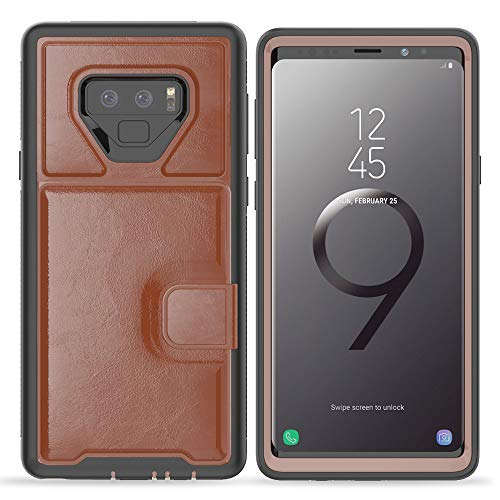 Galaxy Note 9 Case, Wallet Case Men Card Slots Holders Kickstand Flip Cover Bumper PU Leather TPU Rubber Hard PC Frame Magnetic Slim Shockproof Durable Samsung Galaxy Note 9 Case 2018 Feitenn - Brown