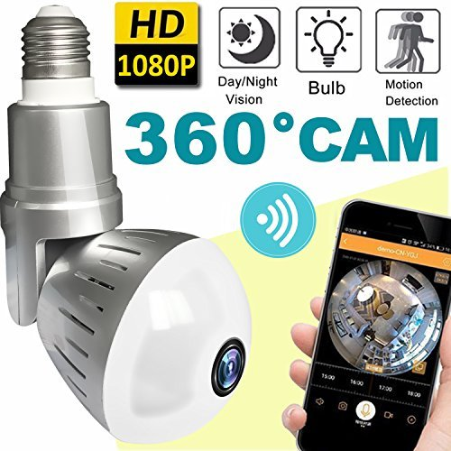 Prime Deal (2018 Upgrade Bulb WiFi IP Camera Wireless Fisheye Spy Hidden Cameras 360 Panoramic for Home Security System Baby Nanny Pet Indoor Night Vision Motion Detection Alarm Christmas Holiday Smart Home Gifts)