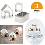 (Set of 3) Gingerbread House Cookie Cutter Set,Little Cookie Christmas House Baking Mould,Mini Gingerbread Biscuit Mold