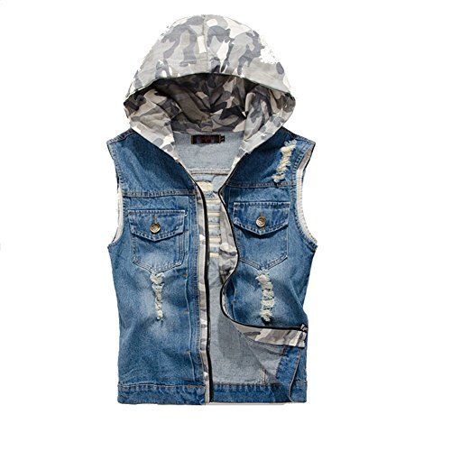 DeLamode Men Jeans Cowboy Vest Denim Jacket Break Hole Camo Waistcoat Tank Coat 805-XXS