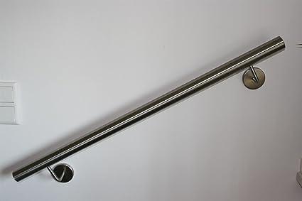 UNGETEILT 1100 mm Edelstahl Handlauf V2A 42,4mm 240K geschliffen Wandhandlauf mit runder Endkappe Halbkugel
