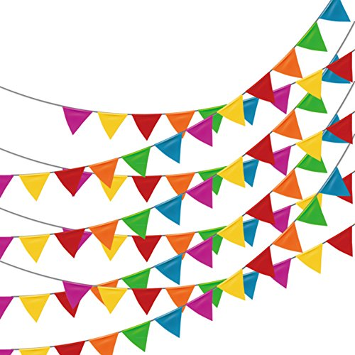 250pcs Multicolor Pennant Banner,LOOBJOYGAME 263Ft Nylon Fabric Decorations (Multi Color Pennant)