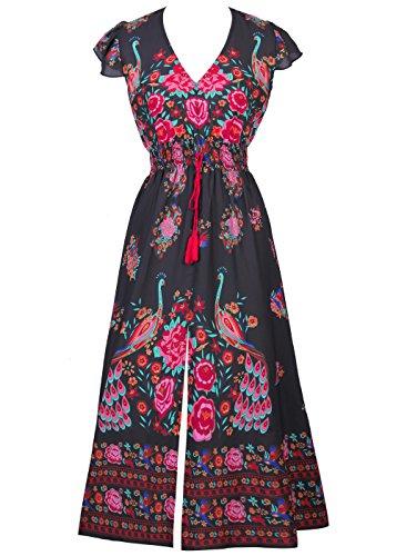 V Mancherons Hem Femme Cru Robe Noir Asymtrique Impression Cou Floral gwwa6Rqx