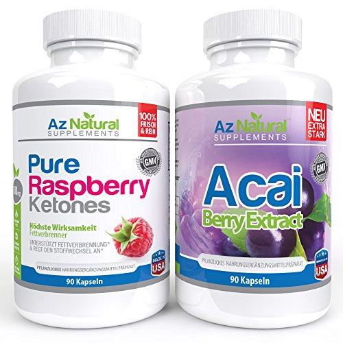 Acai Berry and Raspberry Ketone 90 Count DUO Pack Plus - pure max, hochdosierte Kapseln ideal zum abnehmen, kraftvoller Fettverbrenner, original nach Dr Oz - keine Nebenwirkungen - Antioxidantien in starken Diätpillen