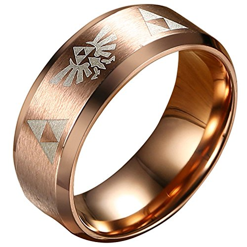 Nanafast 8mm The Legend of Zelda Triforce Ring, Stainless Steel Matte Finished Bands Rose-Gold Size 7 (Triforce Mens Wedding Band)