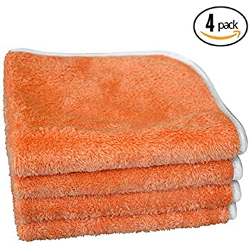 (4-Pack) THE RAG COMPANY 16 in. x 16 in. WIZARD Professional Korean 70/30 Plush 360gsm Microfiber Detailing and Polishing Towels with Silky Satin Edge (ORANGE)