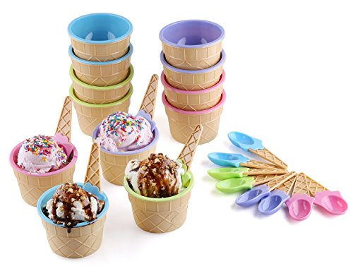 Greenco Vibrant Colors Ice Cream Dessert Bowls and Spoons (Set of 12) (Cream Ice Dishes Cone)
