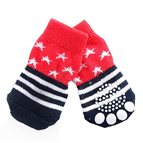 4pcs Pet Soft Cotton Anti-slip Knit Weave Warm Sock (Red) (XL) - 4