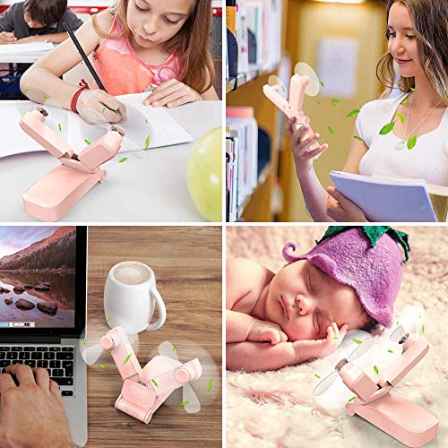 Mini HandHeld Fans Personal Fan Dual Heads Battery Operated Portable USB Rechargeable Small Desk Fan Electric Pocket Folding Fan For Travel/Home/Outdoor/Work/Summer (pink dual head) (Pink)