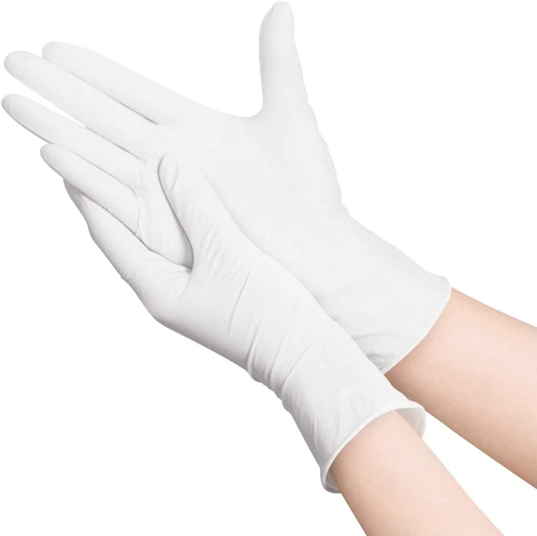 100pcs Disposable Gloves,Hizek Latex Free,Powder Free Soft Industrial Gloves,Cleaning Glove for Home Use,Color White,Size Large