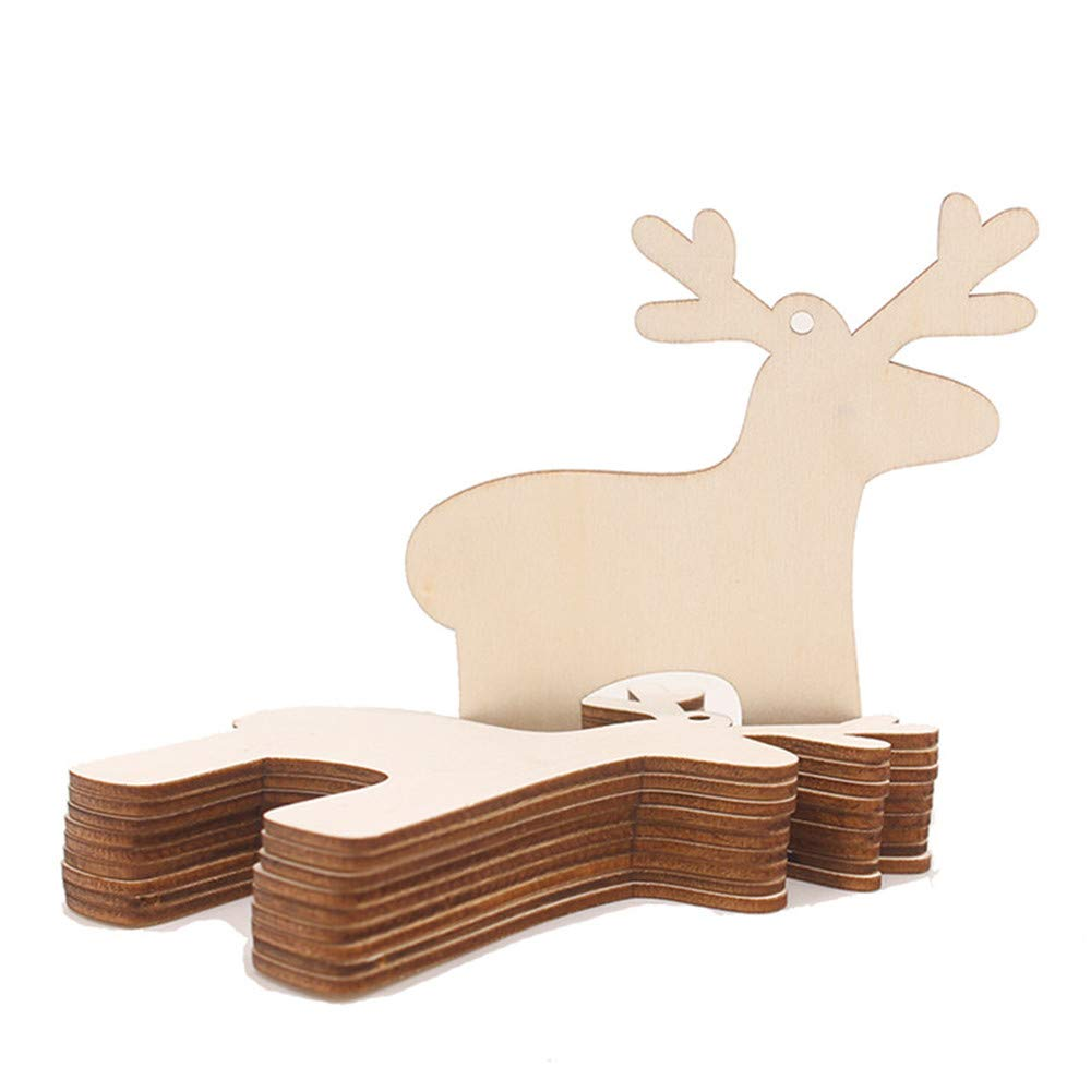 Christmas Wood Pendant Hanging,Lovewe 10pcs Wooden Pendant Christmas Decorations Children's Home Decoration Gifts (A)