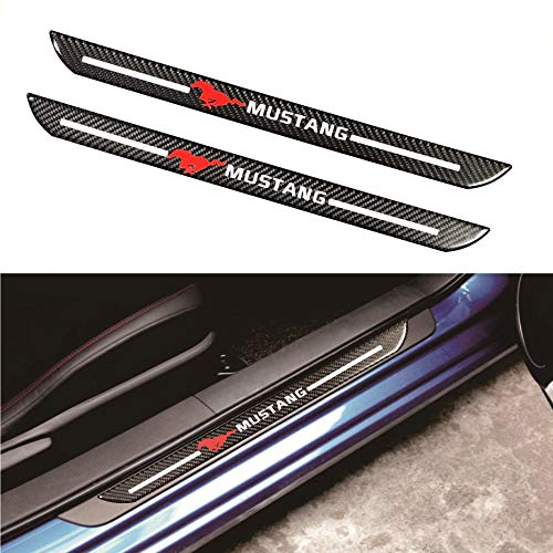 Mustang Car Scuff Plate Door Sill Cover Panel Step Protector Guard 48.5CM Carbon Fiber 2pc ()