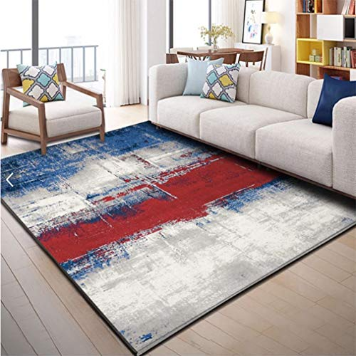 WONNA Modern Abstract Area Rug Monaco Collection Carpet Vintage Bohemian Doormat Nordic Geometric Mat for Living Room Bedroom Study Bedside Carpet