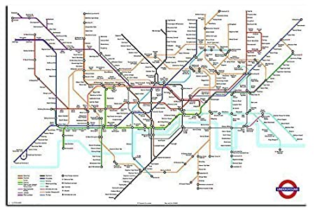 Transport For London Map.Transport For London Underground Tube Map Poster Gloss Laminated