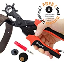 Best Leather Hole Punch Set for Belts, Watch Bands, Straps, Dog Collars, Saddles, Shoes, Fabric, DIY Home or Craft Projects. Super Heavy Duty Rotary Puncher, Eyelet Pliers, Multi Hole Sizes Maker Tool