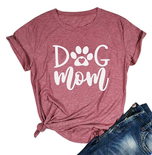 Mom Womens Pink T-shirt - YUYUEYUE Dog Mom T Shirt Women's Casual Letter Print Short Sleeve Tops Tee (XX-Large, Pink)