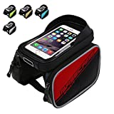 Bike Front Bag SIKAI® Patent 5.8 Inch Touch Screen Roswheel Waterproof Cycling Bags Bike Front Frame Bag Tube Pannier Double Pouch for 5/5.5 inch Cellphone Touchscreen Bags …